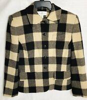 Jones New York Suit Jacket Blazer Size 8 Brown And Beige Plaid Blend 75% Wool