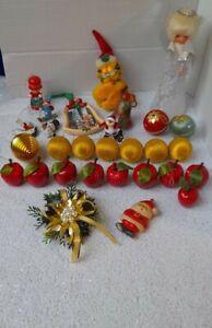 vintage Christmas tree decorations bundle lot retro kitsch angel baubles santa