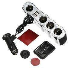4 Way Socket Auto Car Cigarette Lighter Splitter 2 USB Port Plug Adapter Charger