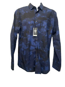 vince camuto Size M black blue dyed print button up Cotton long sleeve Shirt