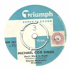 """Michael Cox - Don't Want To Know - 7"""" Vinyl Record"""