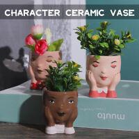 Mini Ceramic Art Tabletop Human Face Vase Flower Pot Nordic Modern Home Decor
