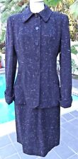 Vintage 50's Tailored French Wool Crepe Black Suit with French Cuffs