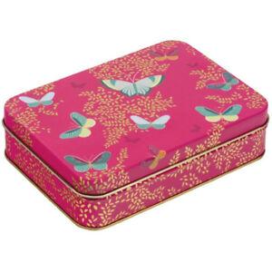 Sara Miller Pink Butterfly Storage Tin Pink Small 14cm Rectangular Shaped Elite
