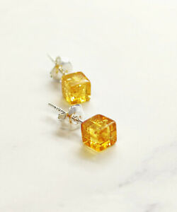 Natural Baltic Amber Girl Women Earrings Gift Cube Sterling Silver 925 Stud