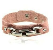 NEW Unique Dusky Pink Slim Leather Wristband with Silver Plated Bar Design
