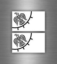 2x Sticker car decal biker banner tuning viking raven vinland flag odin helmet