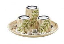 Dekoschale rund mit 3 Kerzenhaltern und Blattdesign