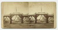 Canandaigua NY Main Street 1880s Photo Stereoview Welcome Firemen Arch