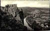 Bad Münster a. Stein Ebernburg s/w AK 50/60er Jahre Panoramablick über Nahe