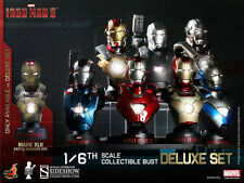 HOT TOYS BUSTO IRON MAN COLL BUST DELUXE SET 7 ARMATURE + 1 EXTRA ALTEZZA CM. 11
