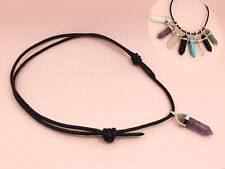 Natural GEMSTONE Crystal Point Hexagonal CHAKRA Prism Pendant + CORD NECKLACE