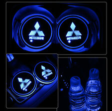 2PCS LED Car Cup Holder Pad Mat for Mitsubishi Auto Interior Atmosphere Lights