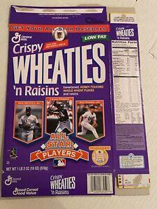 Crispy Wheaties N Raisins Cereal Box 18 oz. AS Players Griffey Thomas Ripken