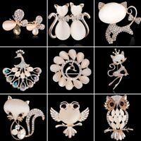 Wedding Bridal Women Animal Butterfly Owl Crystal Breastpin Brooch Pin Jewelry