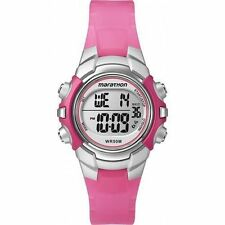 Ladies Timex Marathon Indiglo Digital Alarm Pink Rubber Sports Watch T5K808