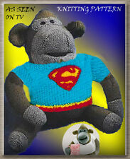 "TV / PG TIPS 16"" MONKEY/CHIMP TOY & SUPERMAN SWEATER TO KNIT  KNITTING PATTERN"