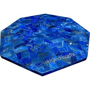 Lapis Lazuli Stone Overlay Work Hotel Table Marble Dining Table Size 48 Inches