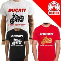 T-Shirt Ducati Monster 600 uomo Maglia moto nera cotone 100% maglietta