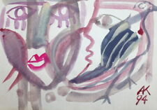 1994 ABSTRACT PORTRAITS FACES WATERCOLOR PAINTING, SIGNED
