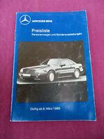 Mercedes Preisliste 09.03.1989 W201 124 126  R129  limo coupe T Modell Roadster