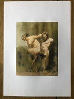 "Erotisches Aquarell aus Frankreich Anonym um 1815 ""Satyr reitet Priabs Phallus"""