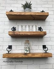 Rustic Handmade Industrial Chunky Floating Shelves Shelf