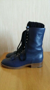 CHANEL CC Logo Leather Blue Combat Boots Knitted Sock Detail Size 38; US 7.5