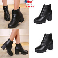 Womens Chunky Heel Platform Shoes Zip Goth Punk Buckle Lace Up Biker Ankle Boots