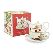 William kilburn Blossom Tè Set per un Tea Pot TAZZA PIATTINO Nero Floreale BOXED