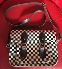 Black and White CHECKERBOARD Leather Crossbody Purse Bag w/ Buckle Front Pocket