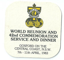 WW2 Rats of Tobruk. Beer coaster from 42nd Commemoraion Service & Dinner 1983