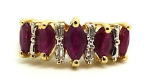 18K Yellow Gold 5 Stone Ruby & Diamond Ring Size 6.5 / 3.5 Grams
