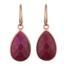 Ruby Gemstone Womens Fashion Dangle Earrings 925 Silver Gemstone Jewelry