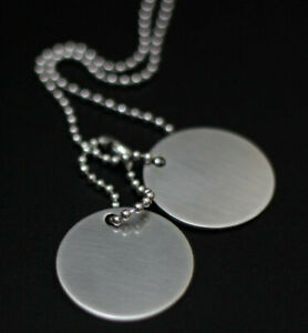 MINIMALIST MATTE BRUSHED SILVER PLAIN MILITARY ARMY DOG TAGS NECKLACE PENDANT
