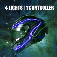 4PCS Motorcycle LED Night light Riding Signal Helmet EL Cold Light 4 Mode Blue
