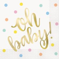 OH BABY LUNCH NAPKINS PK16 TABLEWARE PARTY SUPPLIES