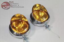6 Volt Amber Mounted Visor Fog Light Lamps Custom Truck Hot Rat Street Rod Pair
