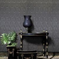 Dark gray silver metallic stones diamond lines faux fabric textured Wallpaper 3D