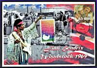 Hendrix  Woodstock 50th Dual FDC w/ Cancellations Jimi & Anniversary Stamps