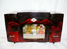Vtg Japanese Diorama Rickshaw Black Lacquer Wood Jewelry Box Mother of Pearl