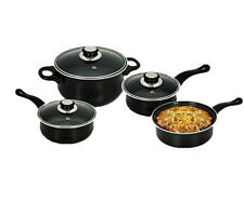 Black Cookware Set Carbon Steel 7PC Induction Set Glass Lid Pots And Pan Frying