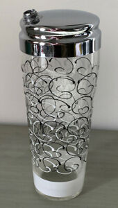 Vintage MCM Unusual Black and White Squiggle Cocktail Shaker Chrome Lid