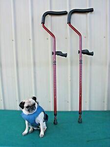 """Rebound Ergonomic Grip Crutches Adjustable Height 48"""" - 60"""" Red"""
