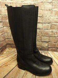 Womens Clarks Verlie Gail Black Leather Zip Up Low Heel Knee High Boots UK 4 E