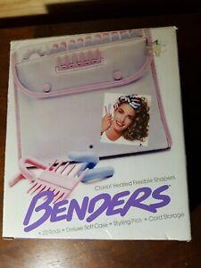 Vintage Clairol BENDERS Heated Flexible Shapers Soft Case 20 Curlers Blue Pink