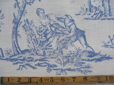 French Toile 100% cotton fabric sold by meter 54'' width approx. Blue deisgn