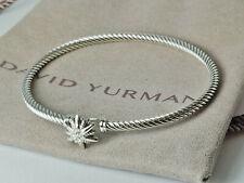 "David Yurman Sterling silver 3mm Starbust Diamonds Bracelet, Large size, 8"""