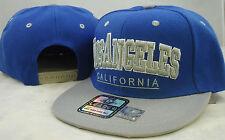 NEW VINTAGE LOS ANGELES FLAT BILL SNAPBACK BASEBALL CAP 3D EMBROIDERY BLUE/GRAY