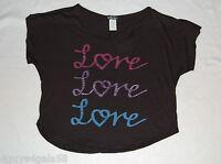 Womens Tee Shirt CROPPED Black LOVE XS 0-2 S 4-6 M 8-10 L 12-14 XL 16-18 GLITTER